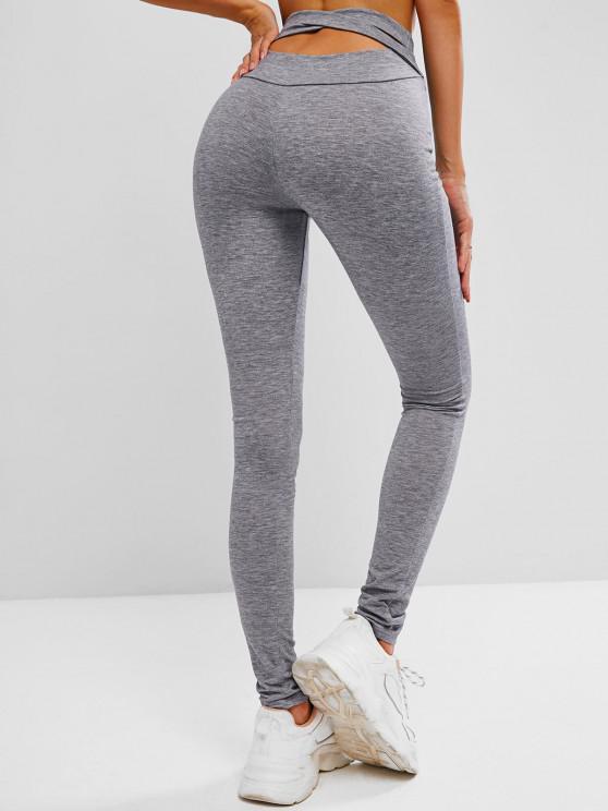 womens ZAFUL Marled Crisscross Gym Leggings - DARK GRAY L