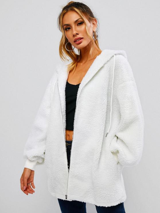 fashion ZAFUL Hooded Drop Shoulder Long Teddy Coat - WHITE S