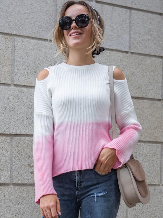 Ribbed Two Tone Slit Cold Shoulder Sweater - وردي فاتح S