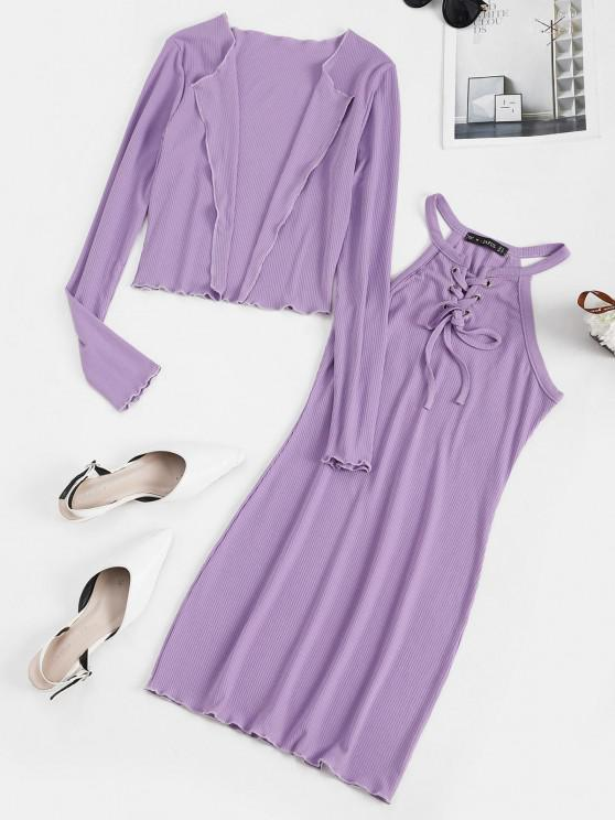 hot Lace Up Ribbed Dress with Open Front Cardigan - LIGHT PURPLE M