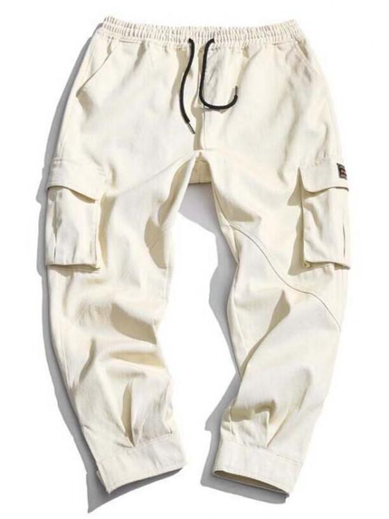 Hook and Loop Detail Letter Applique Tapered Cargo Pants - اللون البيج XS