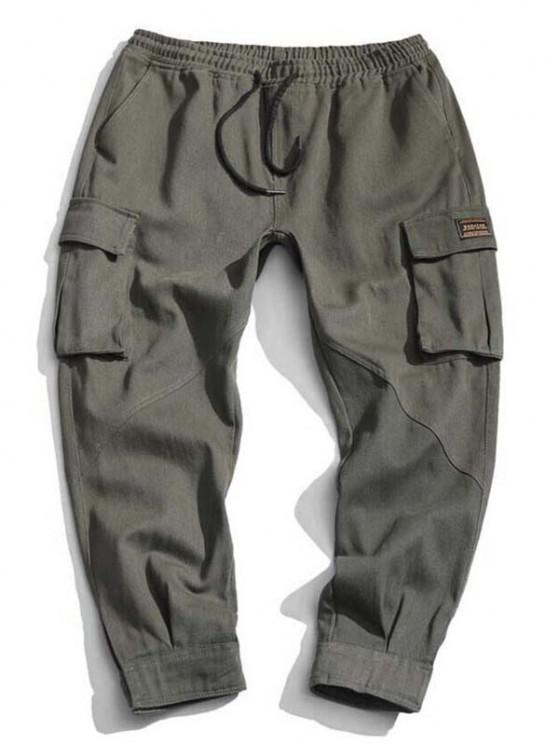 Hook and Loop Detail Letter Applique Tapered Cargo Pants - الجيش الأخضر L