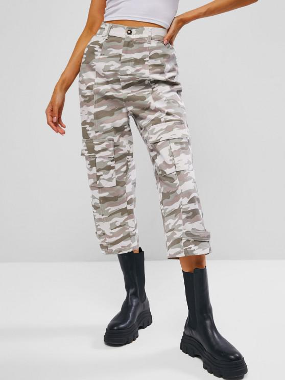 unique Seam Detail Pocket High Waisted Camo Jeans - LIGHT GREEN L