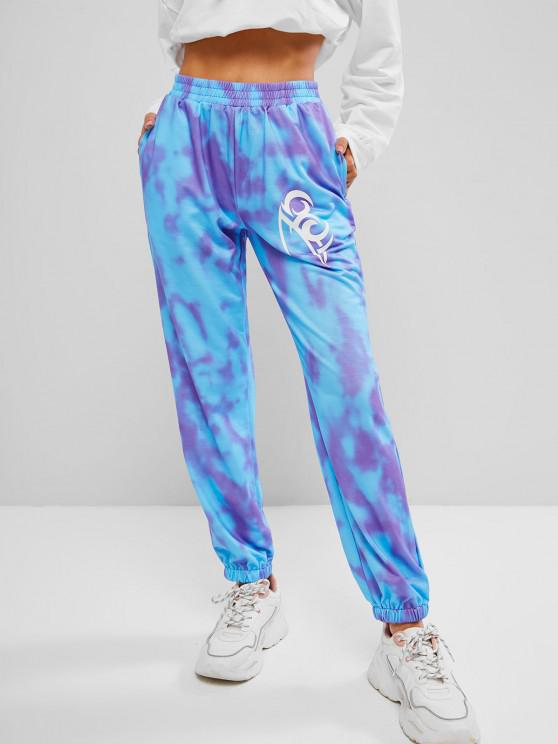 womens Tie Dye Graphic Joggers - MULTI L