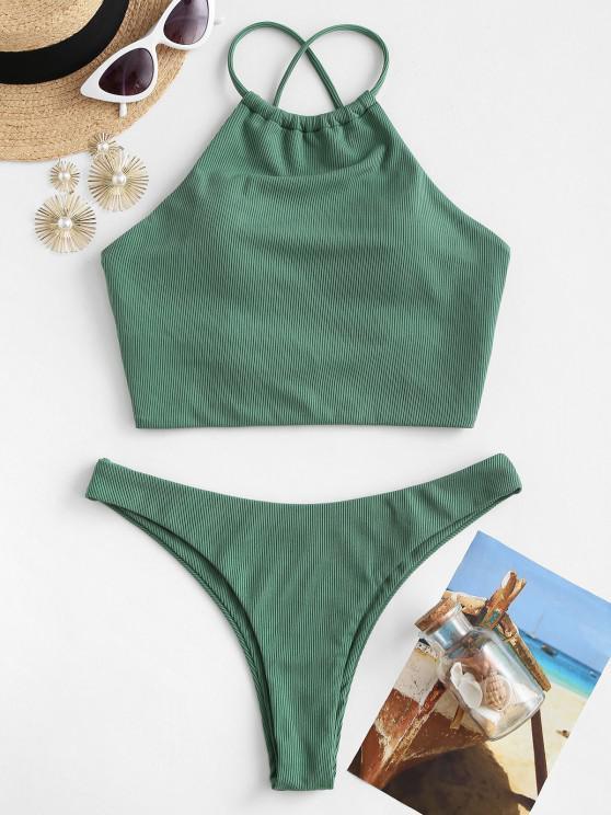 ZAFUL High Neck Crisscross Back Ribbed Tankini Swimwear - ديب غرين S