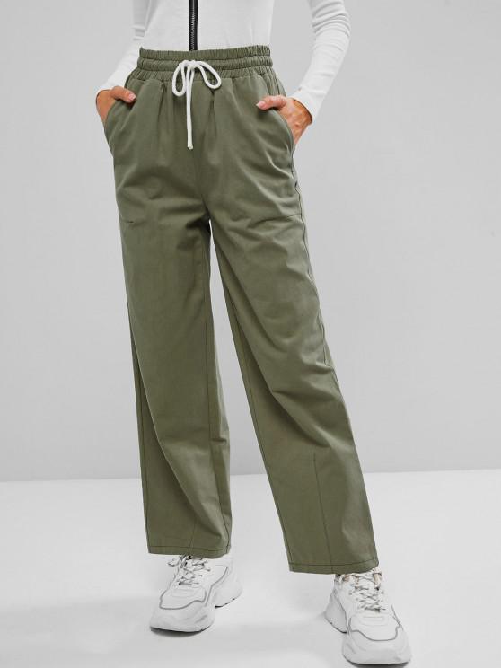 women's Drawstring Waist Pocket Wide Leg Pants - GREEN S