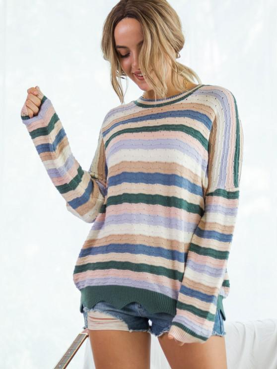 latest Colorful Striped Pointelle Knit Wave Hem Sweater - MULTI M