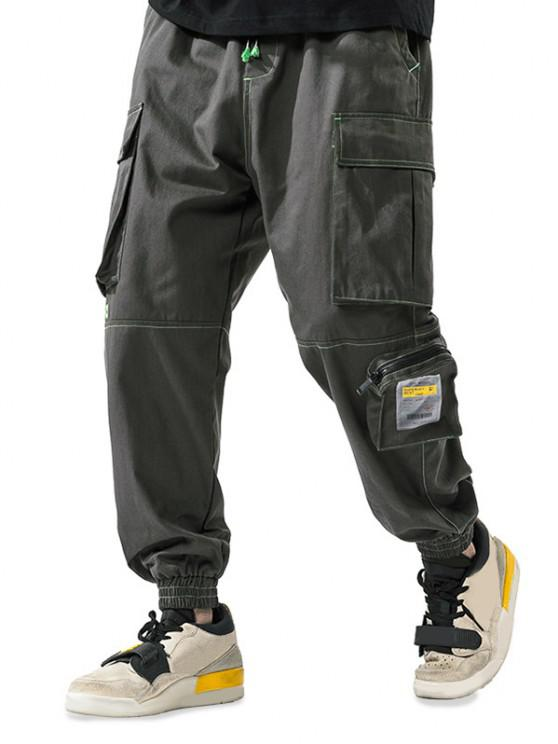 Letter Patchwork Stitching Multi-pocket Cargo Pants - الجيش الأخضر 3XL