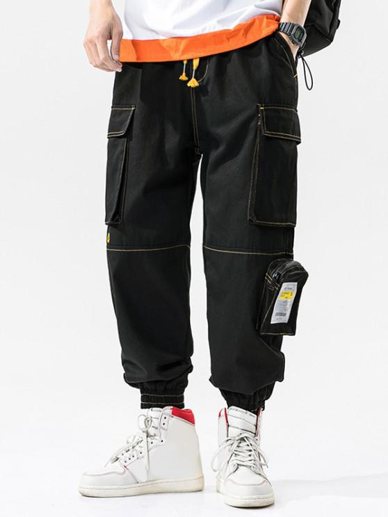 new Letter Patchwork Stitching Multi-pocket Cargo Pants - BLACK XL
