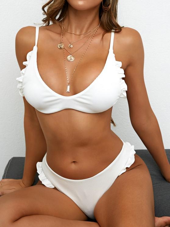 ZAFUL Ribbed Frilled Bikini Swimwear - أبيض S