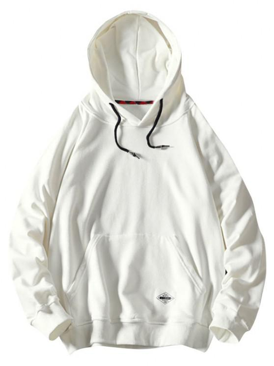 Front Pocket Letter Patched Oriental Graphic Hoodie - أبيض M