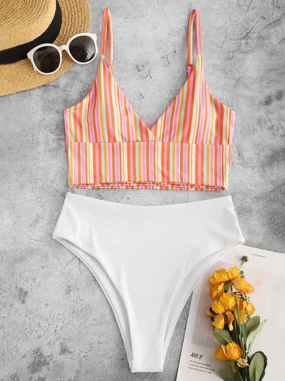 women ZAFUL Colorful Striped Surplice-front Ribbed Tankini Swimwear - RED M
