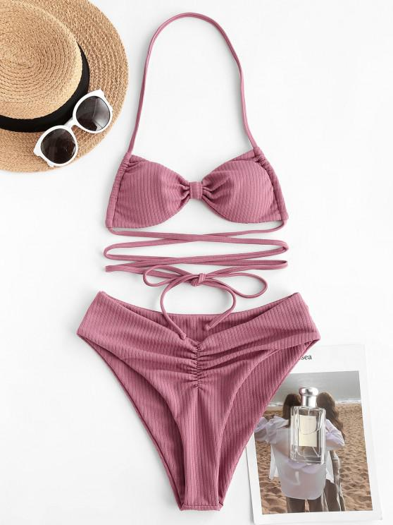 unique ZAFUL Halter Ribbed Bow Ruched Bikini Swimwear - LIGHT PINK S