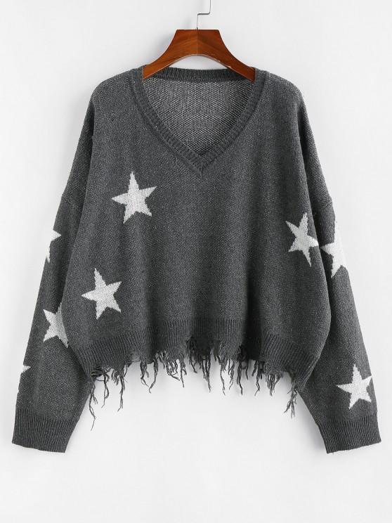 fashion ZAFUL  Ripped Stars Jacquard Sweater - GRAY L