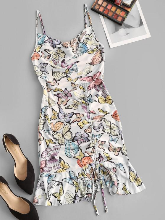 buy Cowl Neck Butterfly Print Cinched Ruffle Mesh Dress - WHITE M
