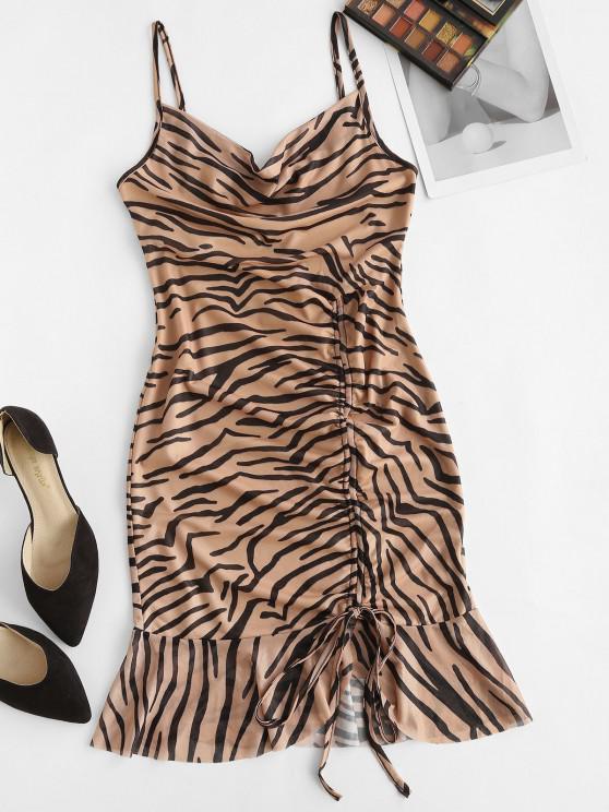 shop Cowl Neck Zebra Print Cinched Ruffle Mesh Dress - LIGHT BROWN S