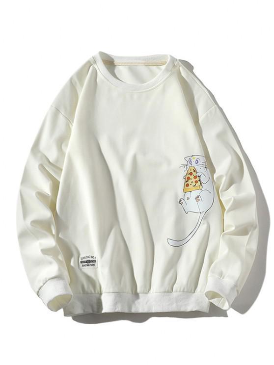 Cartoon Cat Printed Letter Applique Sweatshirt - أبيض L