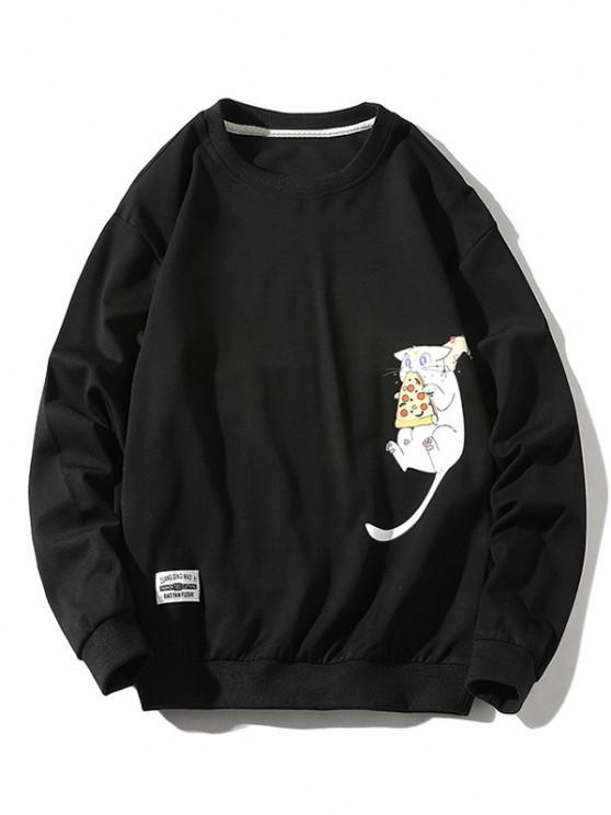 Cartoon Cat Printed Letter Applique Sweatshirt - أسود XS