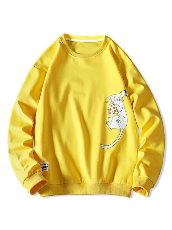 shops Cartoon Cat Printed Letter Applique Sweatshirt - YELLOW M