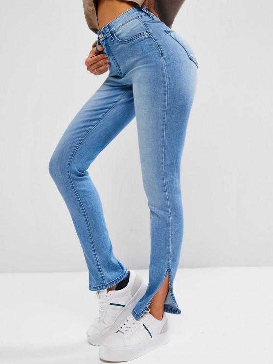 buy ZAFUL Slit Skinny Zipper Fly Jeans - LIGHT BLUE M