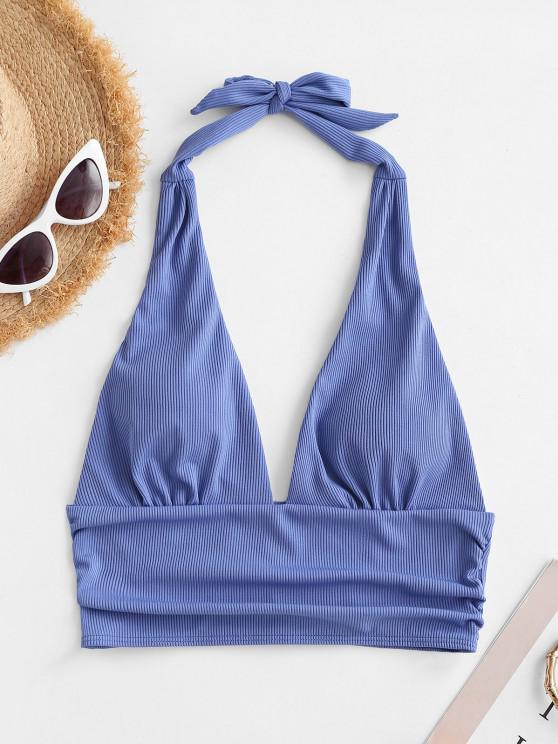 buy ZAFUL Ribbed Halter Plunge Padded Bikini Top - BLUE S