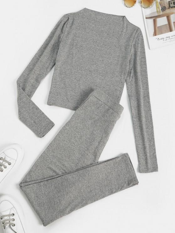 shops Marled Fleece Lined Skinny Two Piece Pants Set - LIGHT GRAY M