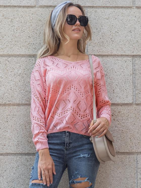 Open-knit Drop Shoulder Sweater - وردي فاتح L