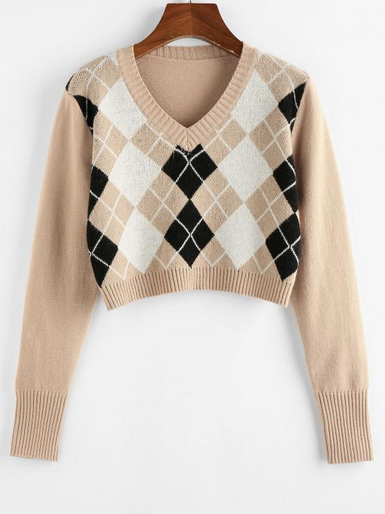 latest ZAFUL Argyle V Neck Crop Sweater - TAN S