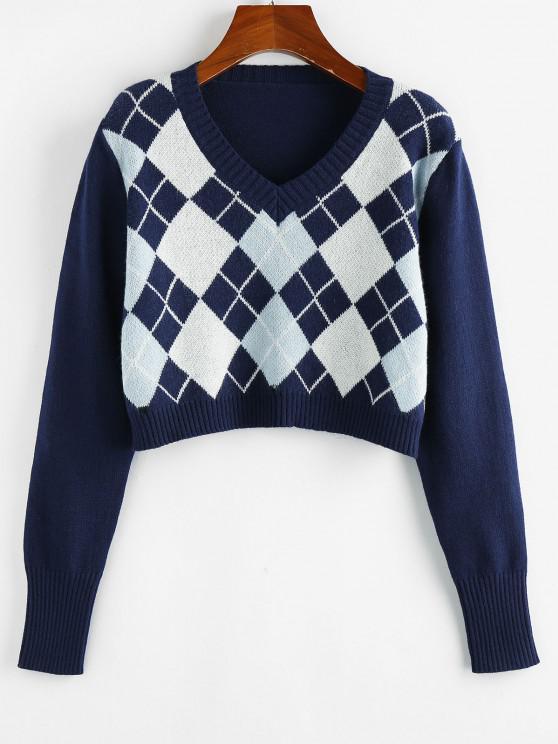 sale ZAFUL Argyle V Neck Crop Sweater - COBALT BLUE XL