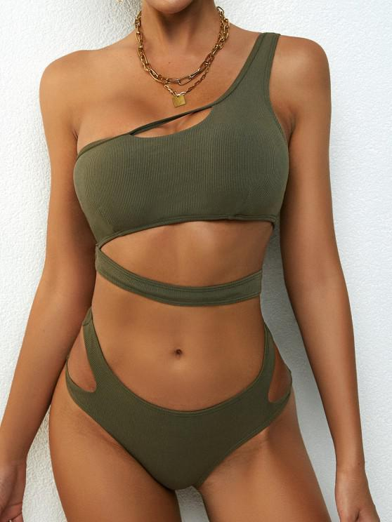 shop ZAFUL Ribbed One Shoulder Underboob Bikini Swimwear - GREEN M