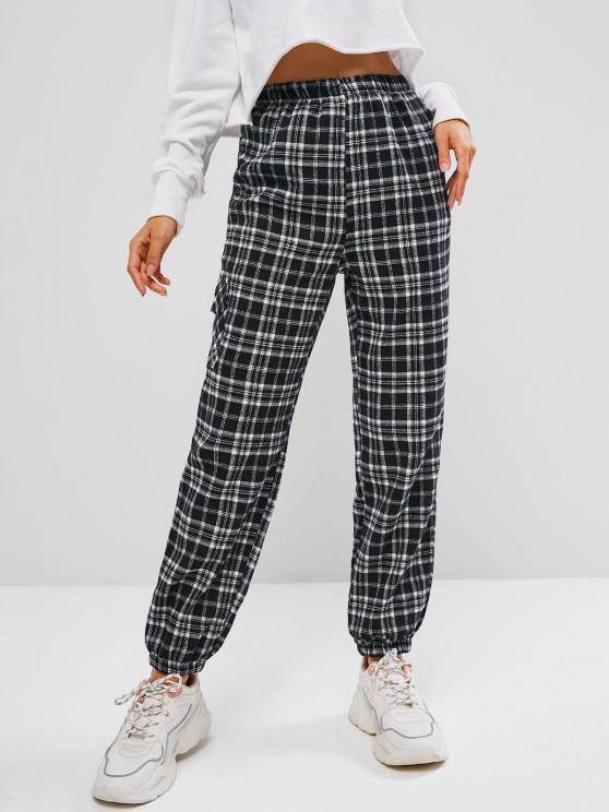 affordable Plaid Flannel Pocket Pull On Pants - BLACK L