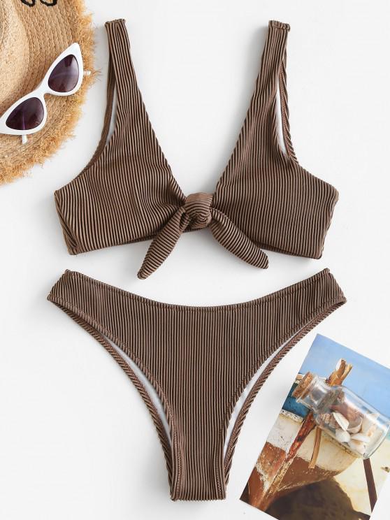 hot ZAFUL Tie Front Textured Ribbed Bikini Swimwear - COFFEE M