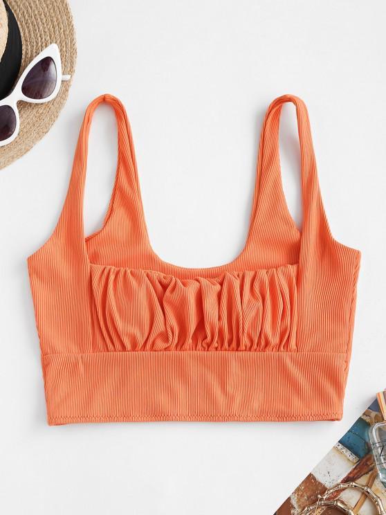hot ZAFUL Square Ruched Ribbed Bikini Top - ORANGE S