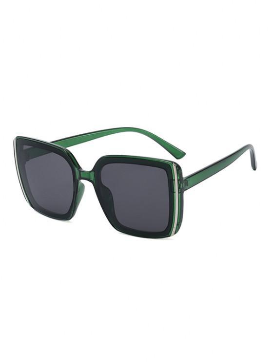 shops Stripe Design Square Oversized Sunglasses - SEAWEED GREEN