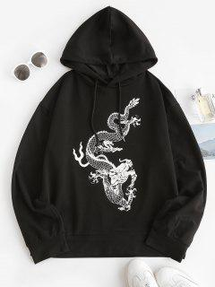 Drawstring Oriental Dragon Print Boyfriend Hoodie - White S
