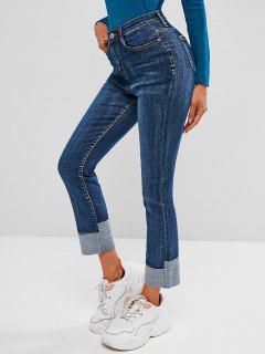 High Waisted Cuff Hem Skinny Jeans - Blue M