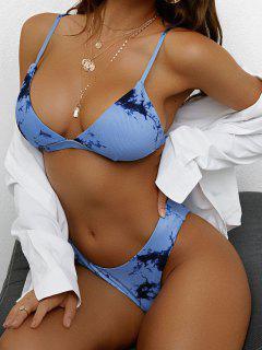 ZAFUL Tie Dye Ribbed High Cut Bikini Swimwear - Blue S