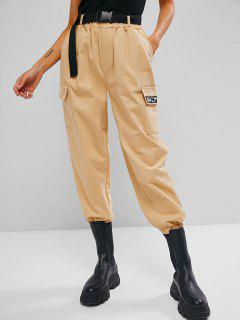High Waisted Push-buckled Belted Cargo Pants - Peach S