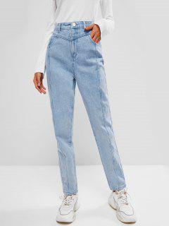 Pantalones Jeans De Pitillo De Limpieza De Detalle Escotado Con Bolsillo - Azul Claro Xl