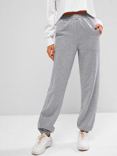 French Terry Drawstring Seam Detail Jogger Sweatpants - Gray Goose S