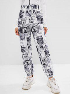 ZAFUL High Waisted Renaissance Festival Jogger Pants - White S