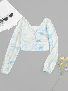 T-shirt Côtelé Teinté Avec Bouton En Avant - Blanc M