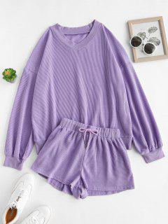 Ribbed Trim Textured Sweat Two Piece Set - Purple M