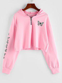 ZAFUL Half Zip Butterfly Print Cropped Hoodie - Light Pink M
