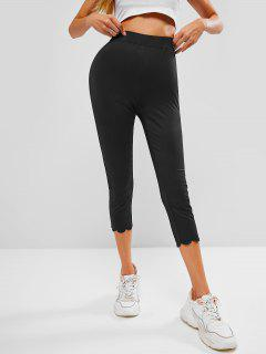 ZAFUL High Waist Scalloped Capri Leggings - Black S