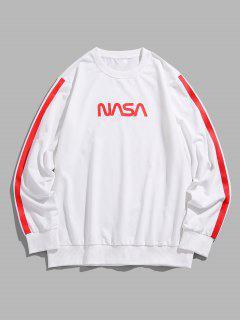ZAFUL Letter Side Stripe Pattern Crew Neck Sweatshirt - White 2xl