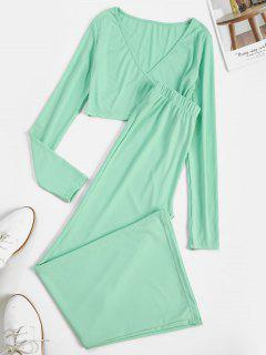 Ribbed Surplice Wide Leg Two Piece Pants Set - Green S
