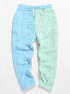 ZAFUL Color Blocking Panel Fluffy Pants - Light Blue M
