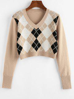 ZAFUL Argyle V Neck Crop Sweater - Tan M