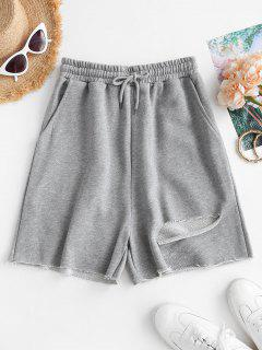 French Terry Ripped Raw Cut Sweat Shorts - Gray Cloud M